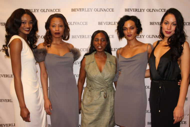 Beverly Olivacce (center) with her models after her show during NYC Fashion Week on February 15, 2015.