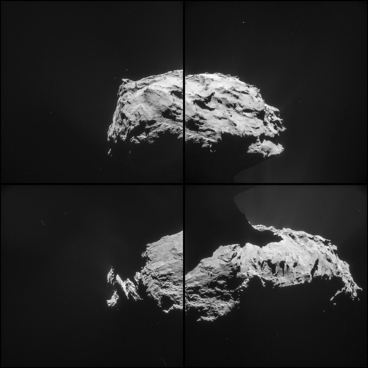 This four-image montage of Comet 67P/Churyumov-Gerasimenko comprises images taken on Saturday from a distance of 19.6 miles (31.6 kilometers) from the comet's center. Rosetta's parting shot following the close flyby features the comet's small lobe at the top of the image, with the larger lobe in the lower portion of the image set. The raw images don't match up precisely, which means that some features show up in more than one of the pictures of the mosaic.