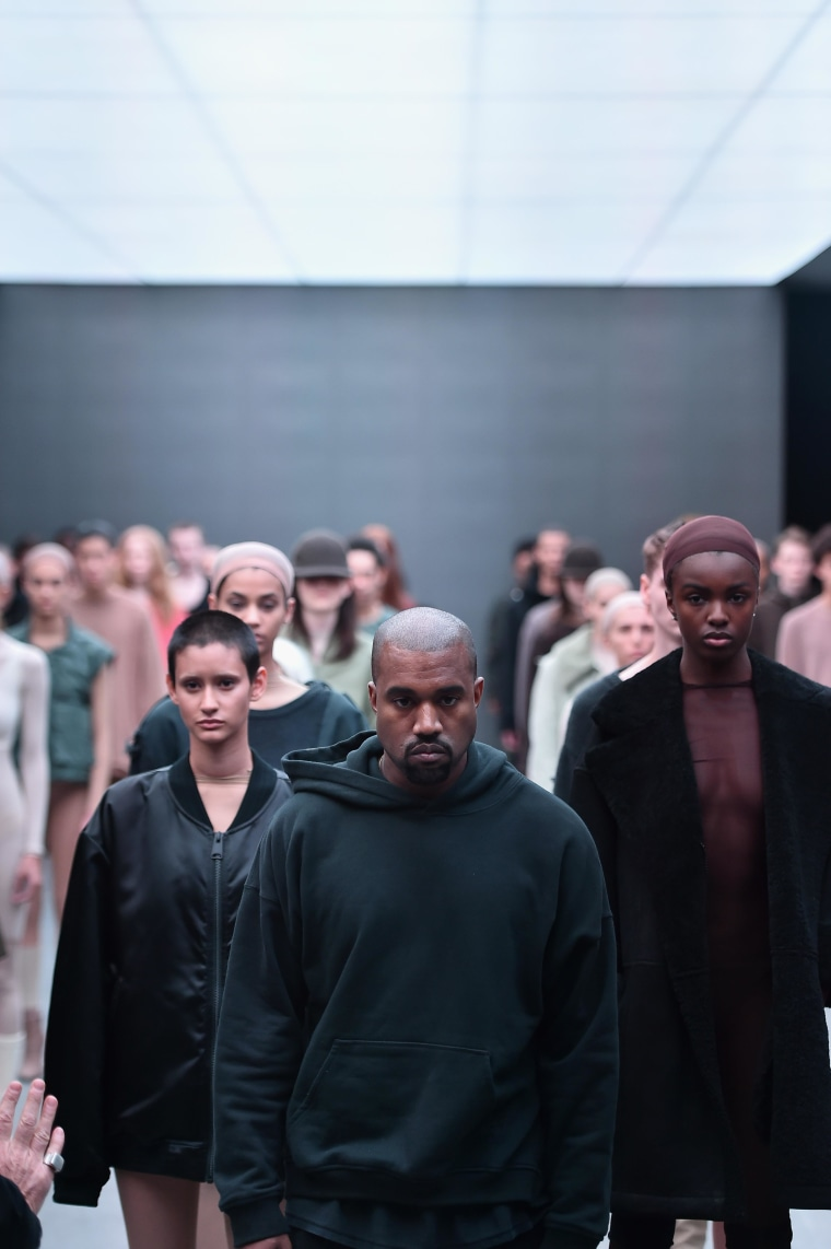 NEW YORK, NY - FEBRUARY 12: Kanye West on the runway at the adidas Originals x Kanye West YEEZY SEASON 1 fashion show during New York Fashion Week Fall 2015 at Skylight Clarkson Sq on February 12, 2015 in New York City.