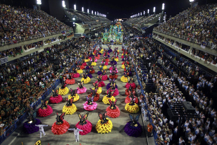 Members of the samba group Uniao da Ilha perform on the second day of group parades of the Carnival of Rio de Janeiro, at the Sambodromo.