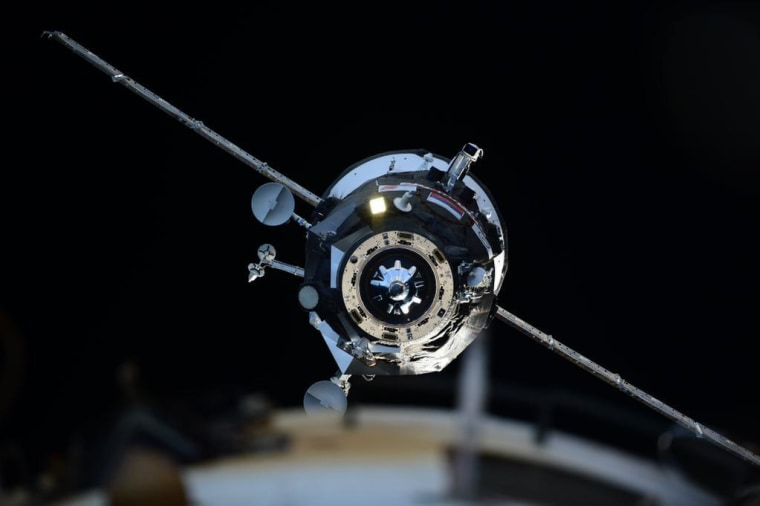 European Space Agency astronaut Sam Cristoforetti captured this shot of Russia's Progress 58 cargo vessel approaching the International Space Station.
