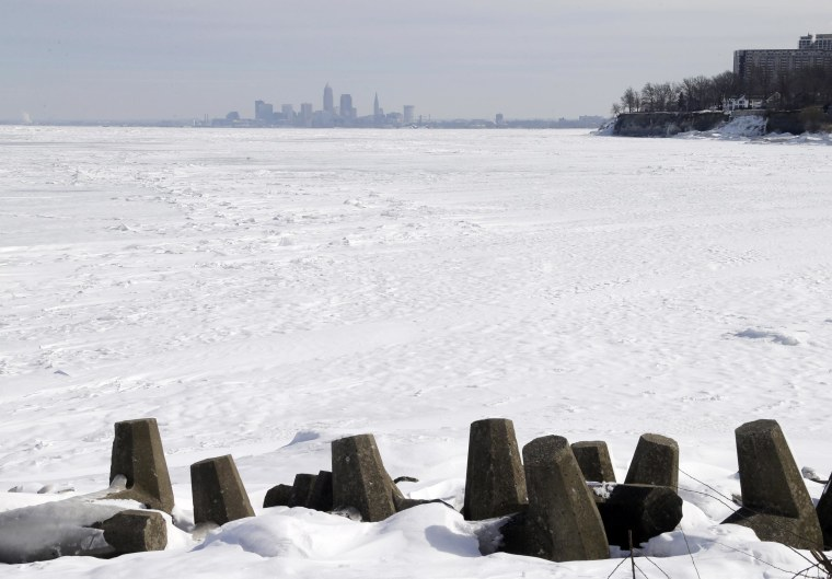 Image: Downtown Cleveland appears to rise from ice-covered Lake Erie