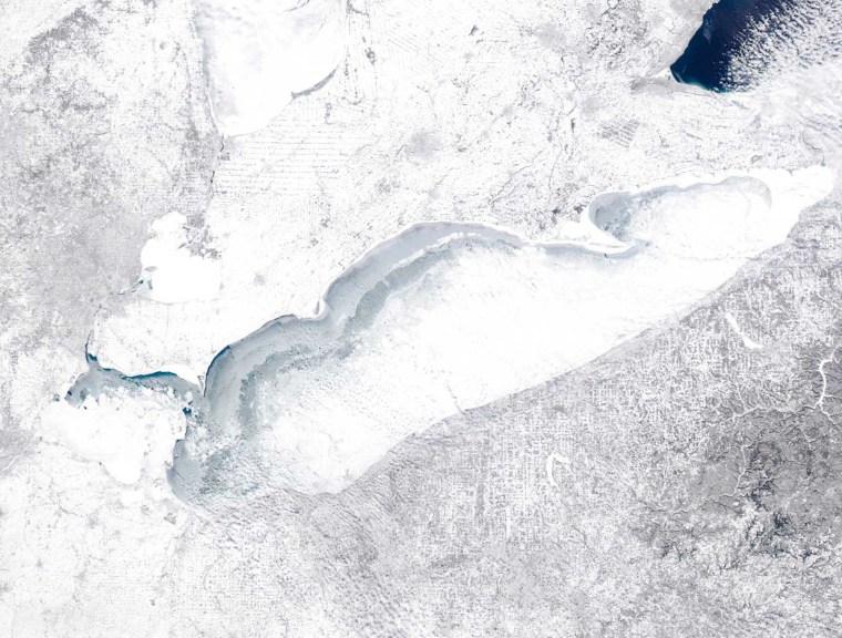 Image: NASA satellite image of frozen Lake Erie