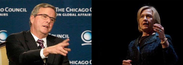Composite shot of Jeb Bush and Hillary Clinton