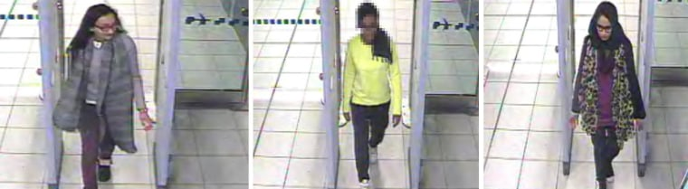 Image: Composite of surveillance video images of three London missing girls