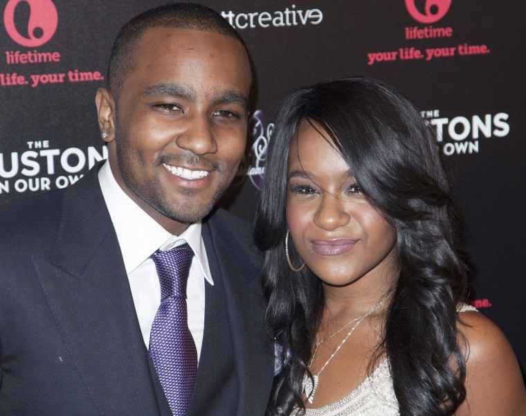 "Image: Nick Gordon and Bobbi Kristina Brown attend the opening night of ""The Houstons: On Our Own"" in New York"