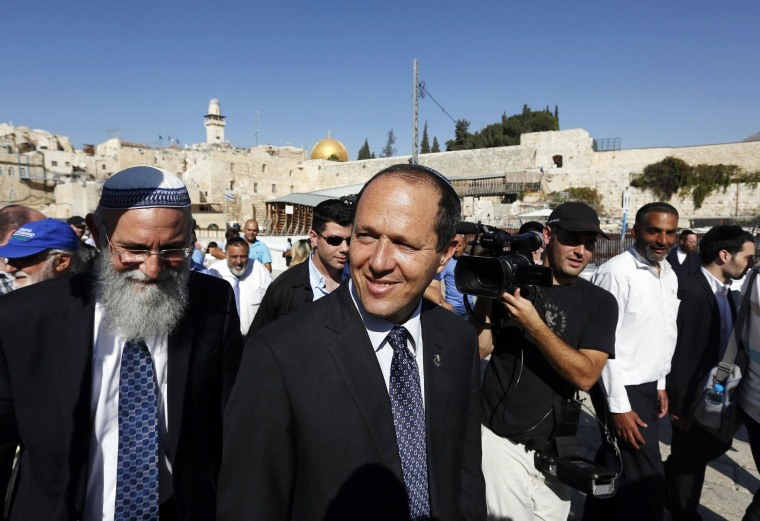 Image: File photo of Jerusalem Mayor Nir Barkat walking after praying at the Western Wall in Jerusalem's Old City