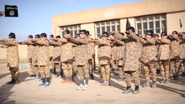 """An image taken from ISIS video purportedly shows Al Farouk training camp for """"cubs"""" [children]. The camp is in Raqqa, Syria, according to Flashpoint Intelligence, a global security firm and NBC News consultant."""