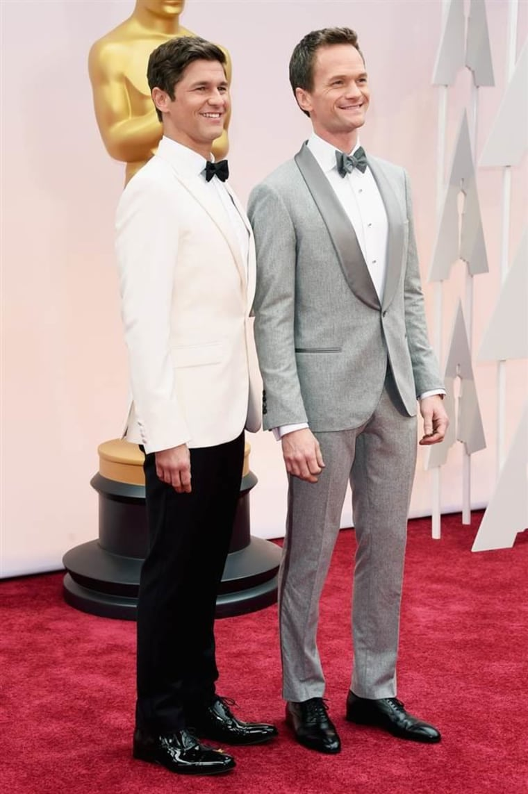 Neil Patrick Harris (R) and actor David Burtka attend the 87th Annual Academy Awards.