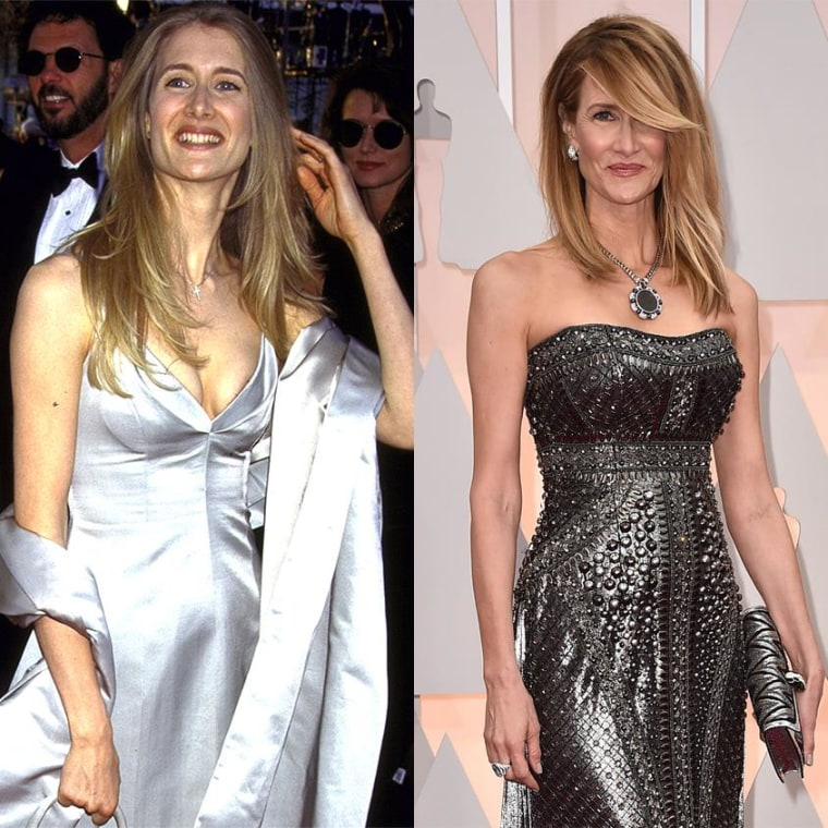 Laura Dern in 1996 and 2015