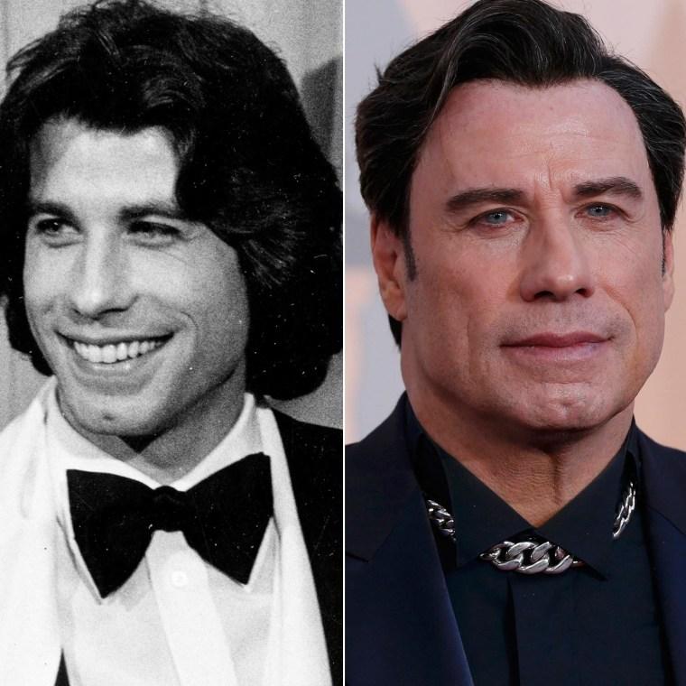 John Travolta in 1978 and 2015.
