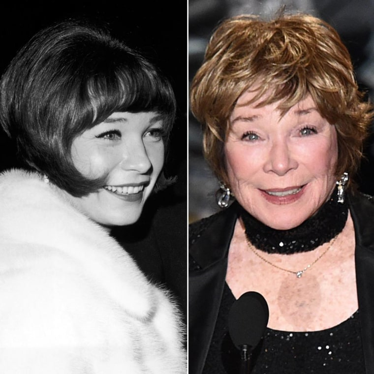 Shirley MacLaine in 1966 and 2015.