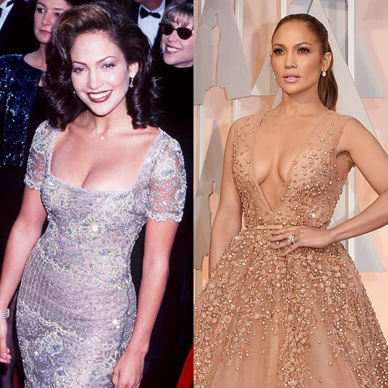 Jennifer Lopez in 1997 and 2015.