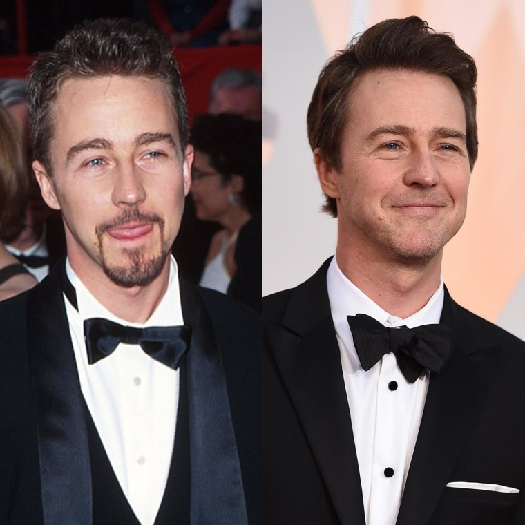 Edward Norton in 2004 and 2015.