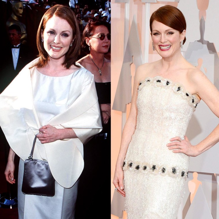 Julianne Moore in 1998 and 2015.