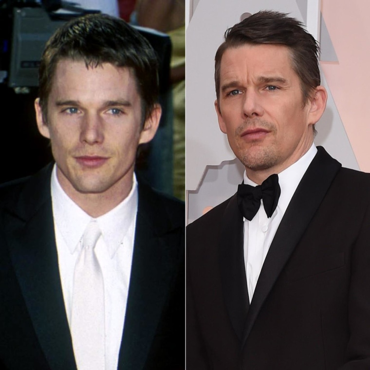 Ethan Hawke in 2000 and 2015.