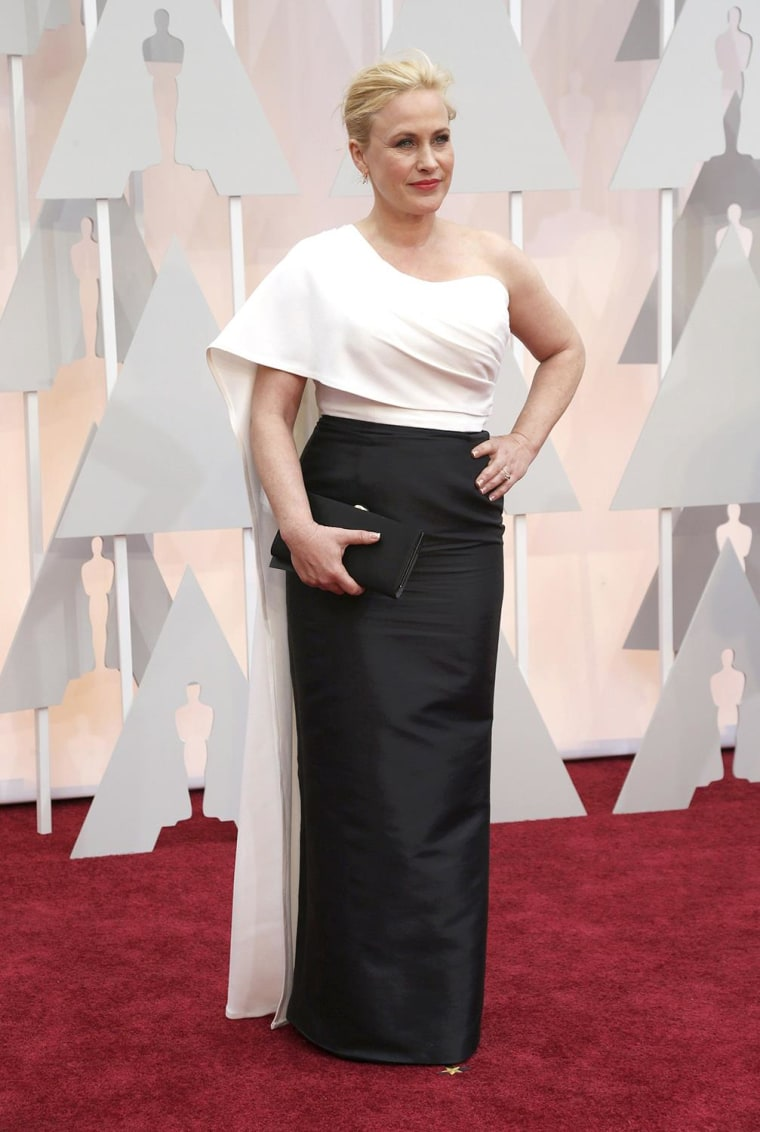 "Image: Arquette, best supporting actress nominee for her role in ""Boyhood,"" arrives at the 87th Academy Awards in Hollywood"