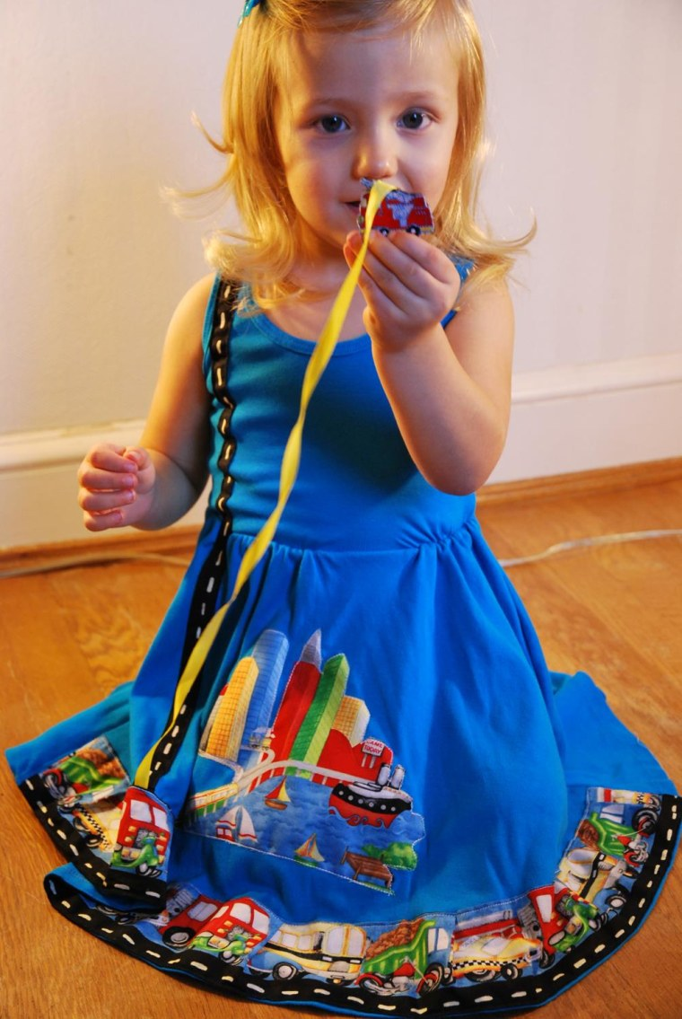"Twirly, girly and transportation-themed: Model Eleanor in a Princess Awesome ""Road"" dress."