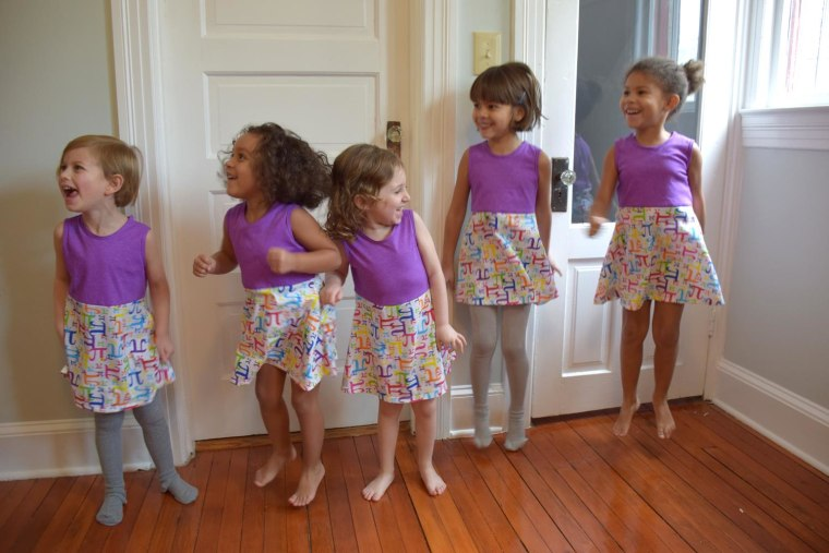 "Hooray, it's time for Pi! Little models in the Princess Awesome ""Pi"" dress."