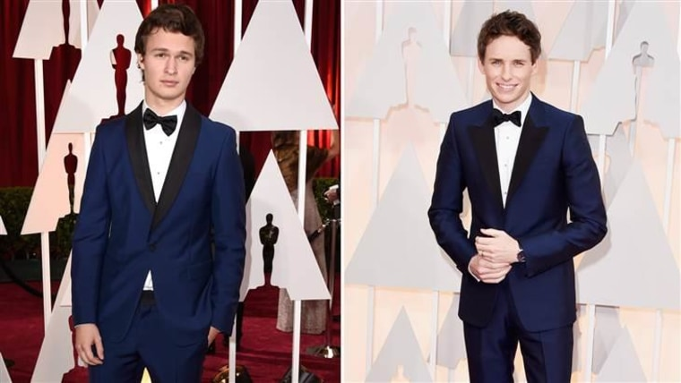 Ansel Elgort (L) and Eddie Redmayne wore strikingly similar tuxes to the Oscars.