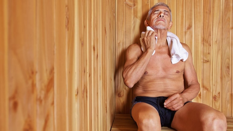 Old man with towel relaxing in sauna of a hotel; Shutterstock ID 188539043; PO: Brandon for Jane / Health