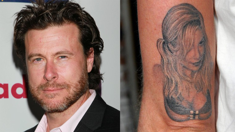 Dean McDermott and the tattoo he sports of wife Tori Spelling.