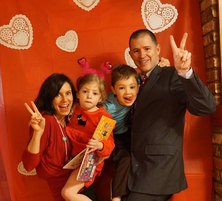 The O'Neill family celebrates Valentine's Day at home. From left to right, mom Cara, Eliza, brother Beckham and dad Glenn.