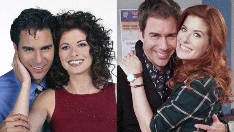"Then and now: Eric McCormack and Debra Messing in ""Will & Grace"" and on ""The Mysteries of Laura."""