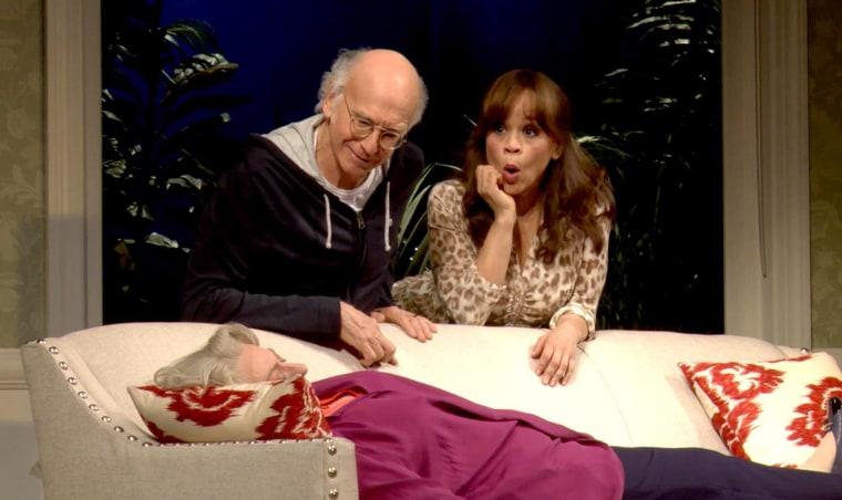 "Rosie Perez with Larry David in ""Fish in the Dark."""