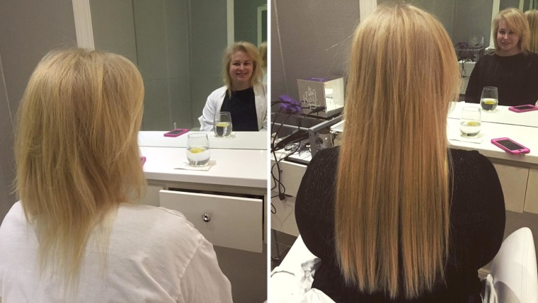 Ta-da! Before-and-after photos prove the magic of extensions.