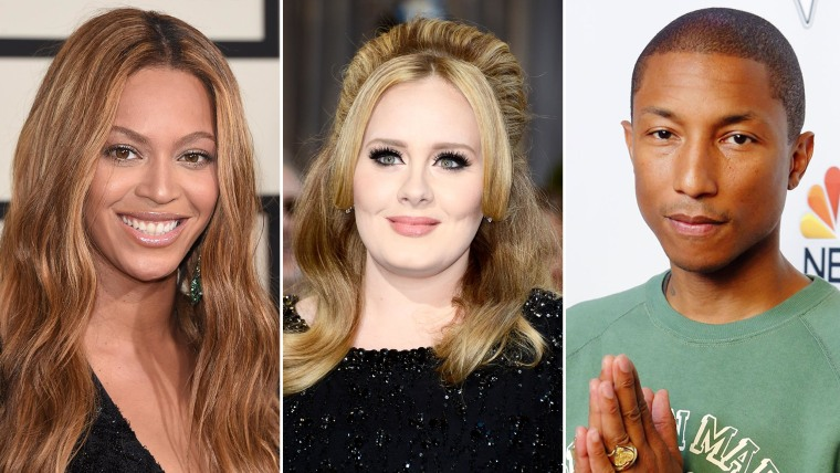 Beyonce; Adele; and Pharrell Williams