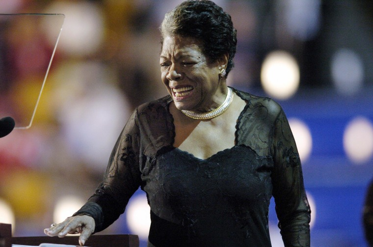 BOSTON, United States:  Poet and activist Maya Angelou addresses the Democratic National Convention 27 July, 2004, in Boston, Massachusetts. AFP PHOTO/STAN HONDA  (Photo credit should read HECTOR MATA/AFP/Getty Images)