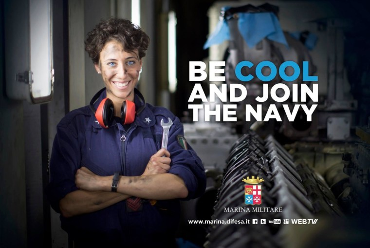 Image: The Italian Navy has launched a recruitment campaign in English.