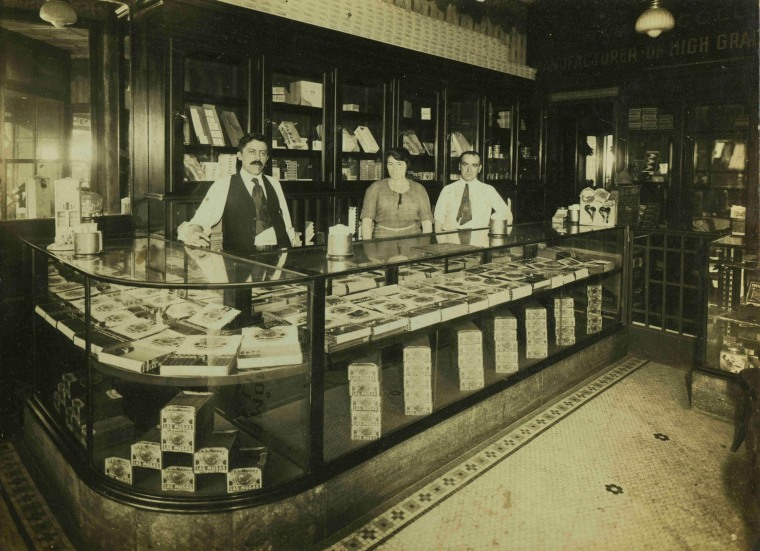 Front counter and back store for Las Musas cigar shop in Brooklyn, NY c. 1915