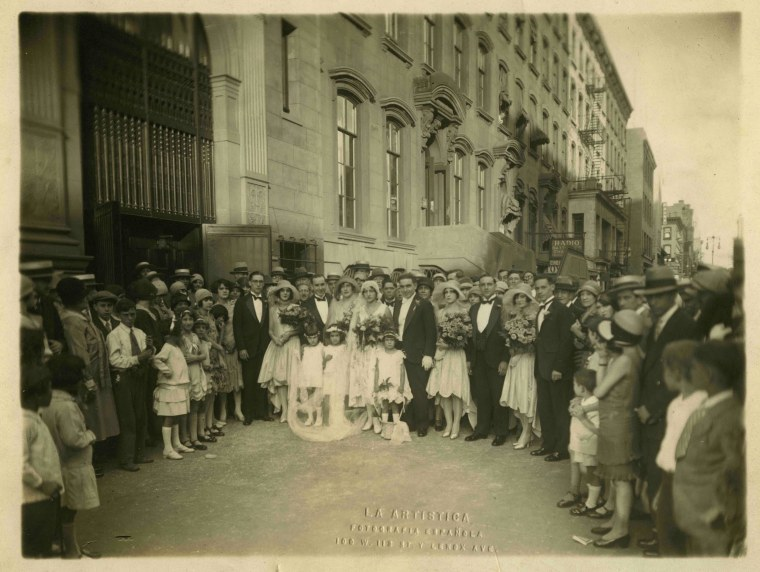 """Wedding in front of Nuestra Señora de Guadalupe on 14th street in Manhattan, NYC, in the heart of one of the """"Little Spains."""""""
