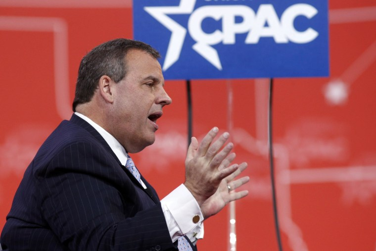 Image: New Jersey Governor Christie speaks while being interviewed onstage at the Conservative Political Action Conference (CPAC) at National Harbor in Maryland