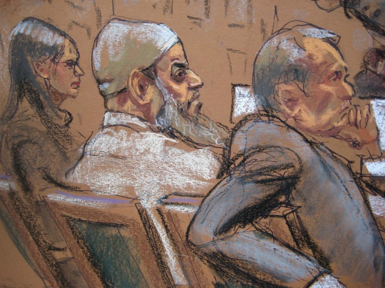 Image: Courtroom sketch shows Khalid al-Fawwaz, a 52-year-old Saudi national, during closing arguments of his trial in the New York Federal Court
