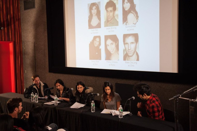 Actors perform a table-read of an excerpt from Kamran Khan's satirical comedy.
