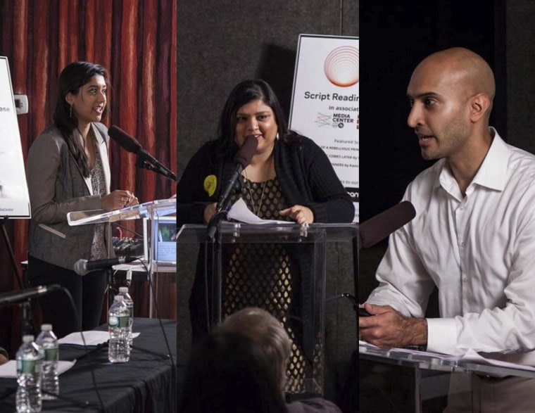 The writers introduce their respective screenplays at the Script Reading Showcase.
