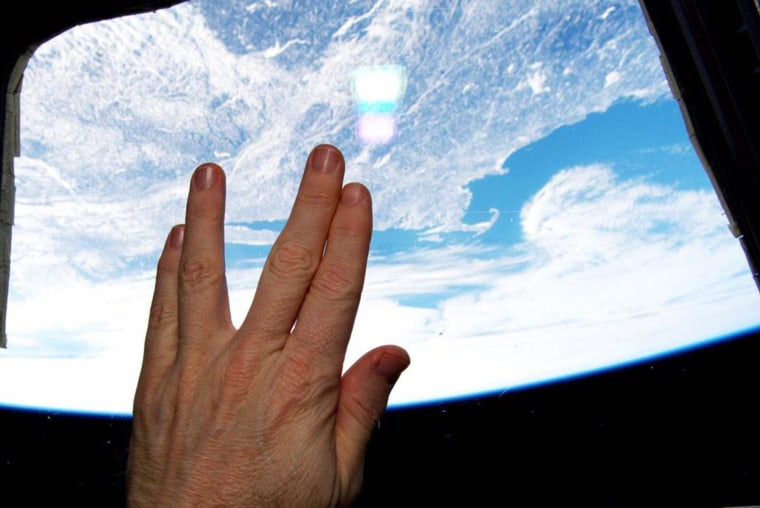 """American astronaut Terry Virts tweeted this photo of the Vulcan salute from the International Space Station as a tribute to actor Leonard Nimoy on Feb. 28. Nimoy, who played Mr. Spock on the classic television series """"Star Trek"""" died on Feb. 27 at 83."""