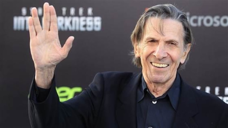 """Leonard Nimoy arrives at a film premiere in Hollywood in May 2013. The """"Star Trek"""" actor died on Friday."""