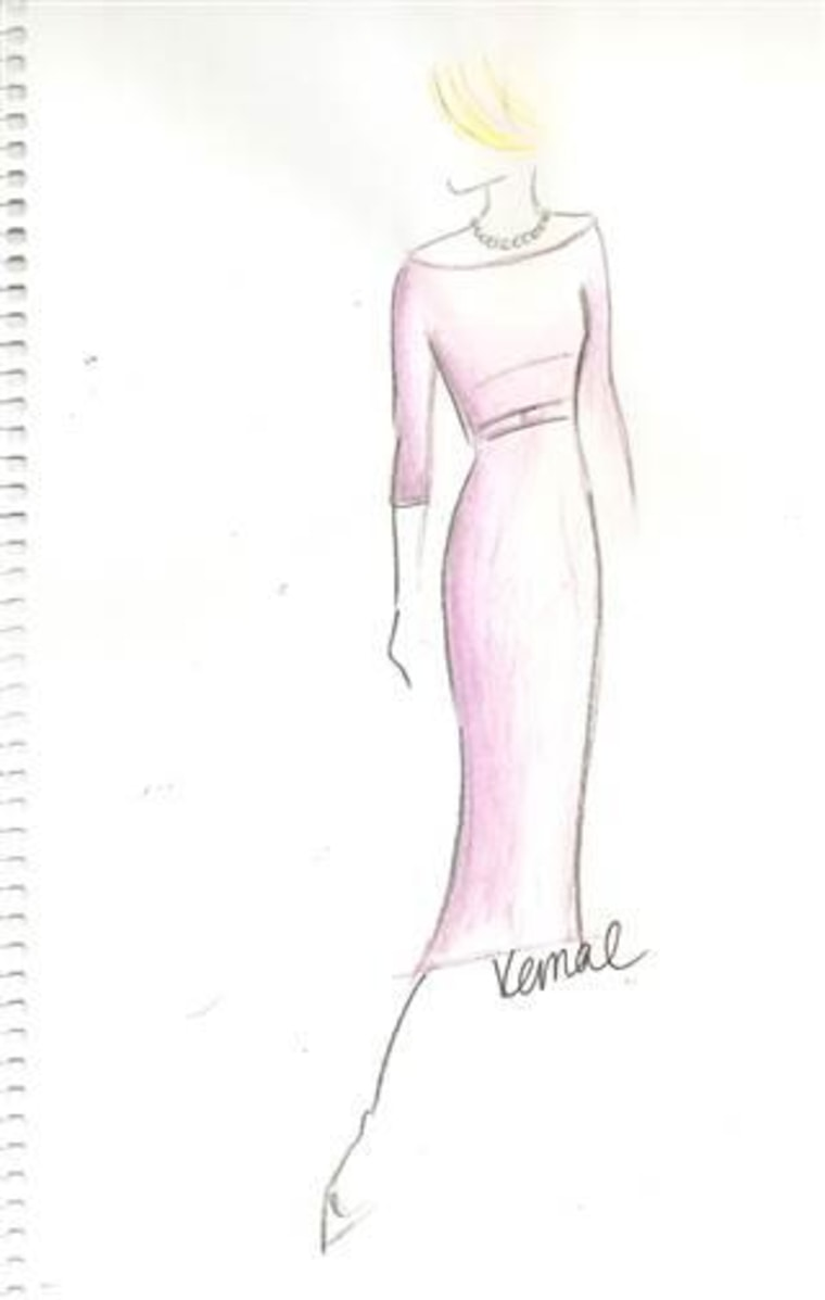 A sketch of the icy lilac dress Claire Underwood wears in the presidential portrait scene.