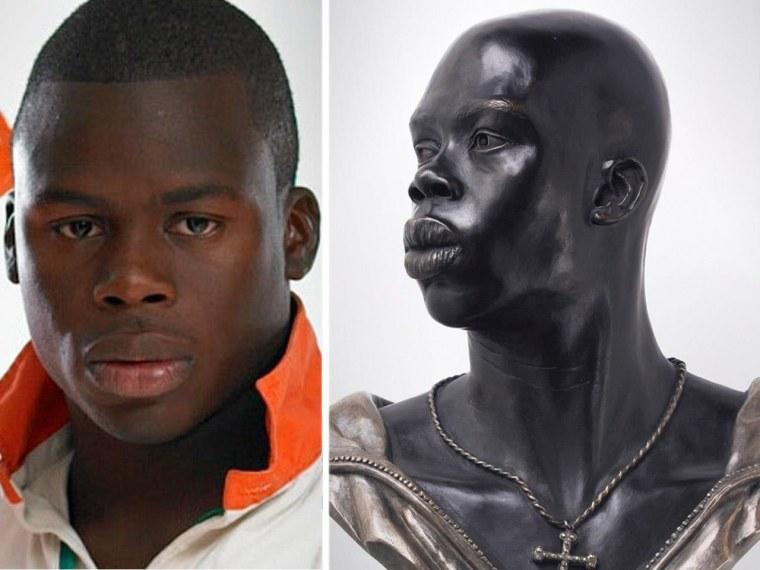 Artist Kehinde Wile based this sculpture on the Adewale Adekanbi, left.
