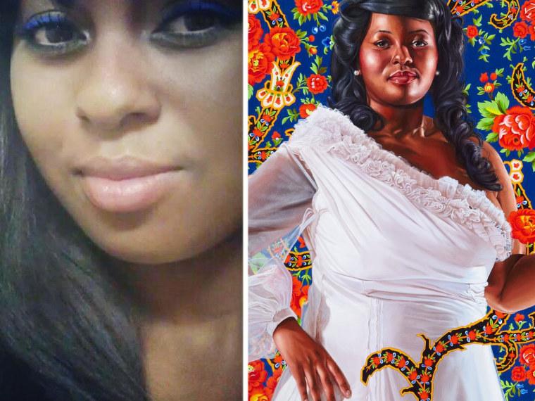 Ena Johnson, 2012. Portrait by Kehinde Wiley, based on Ena Johnson, left.