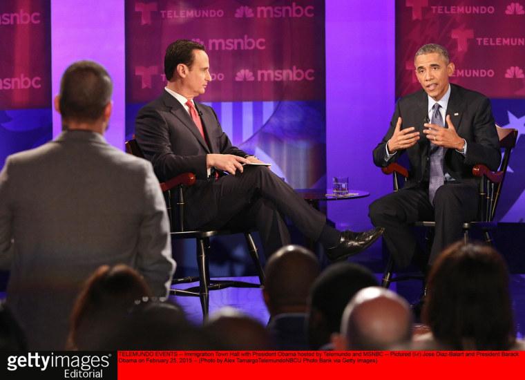 "TELEMUNDO EVENTS -- ""Immigration Town Hall with President Obama hosted by Telemundo and MSNBC"" -- Pictured: (l-r) Jose Diaz-Balart and President Barack Obama on February 25, 2015 -- (Photo by: Alex Tamargo/Telemundo/NBCU Photo Bank via Getty Images)"