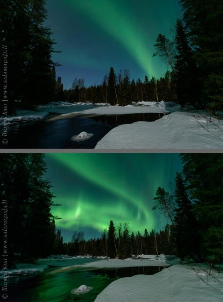 Image: Before and after aurora