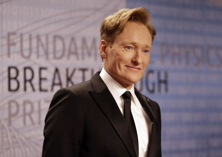 File photo of  talk show host Conan O'Brien at the Breakthrough Prize in Life Sciences awards Thursday, Dec. 12, 2013, in Moffett Field, Calif.