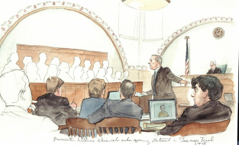 Prosecutor William Weinreb makes the opening statement in the trial of alleged Boston bomber Dzhokhar Tsarnaev on March 4.