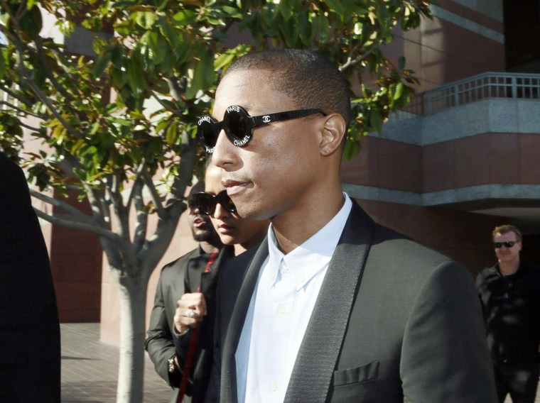 IMAGE: Pharrell Williams leaving court in Los Angeles