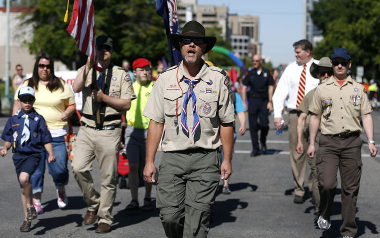 Image: Members of the Boys Scouts of America march in a gay pride parade in Salt Lake City, Utah